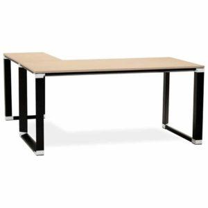 Bureau d´angle design ´XLINE´ en bois finition naturelle et métal noir (angle au choix)