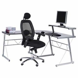 Bureau d´angle en verre noir ´JOB´ design informatique (angle au choix)