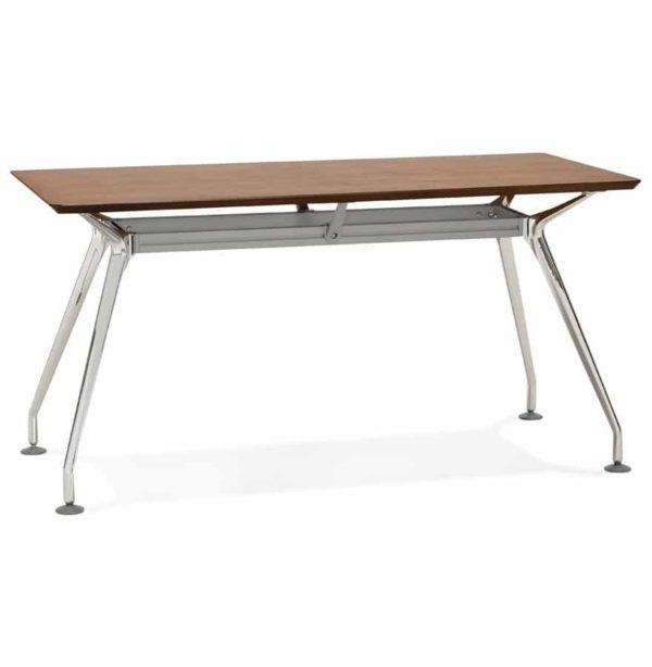 Bureau droit design ´STATION´ avec plateau en bois finition Noyer - 150x70 cm