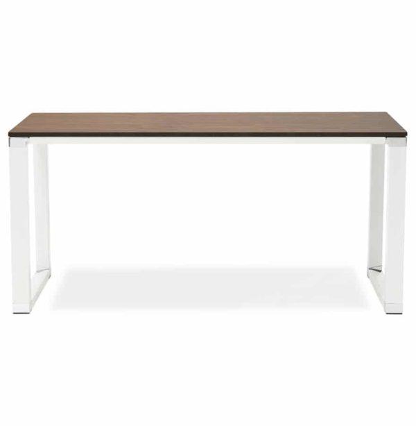 Bureau-droit-design-´XLINE´-en-bois-finition-Noyer-et-métal-blanc-160×80-cm-1
