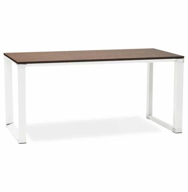 Bureau droit design ´XLINE´ en bois finition Noyer et métal blanc – 160×80 cm