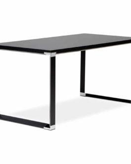 Bureau de direction droit design ´XLINE´ en verre noir – 160×80 cm
