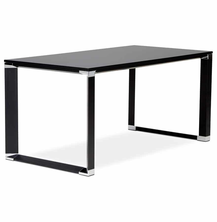Bureau-droit-design-´XLINE´-en-bois-noir-160×80-cm-1