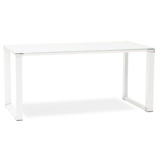 Bureau droit design ´XLINE´ en verre blanc - 160x80 cm