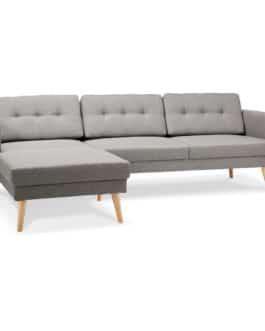 Canapé d´angle ´COLONEL´ gris clair avec méridienne (angle à gauche)