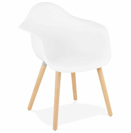 Chaise avec accoudoirs ´OLIVIA´ blanche style scandinave