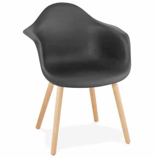Chaise avec accoudoirs ´OLIVIA´ noire style scandinave