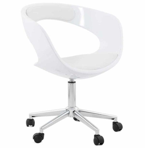 Chaise de bureau ´STRATO´ blanche sur roulettes