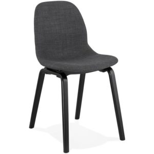 Chaise de salle à manger ´CELTIK´ en tissu gris et pieds en bois noir 300x300 - Chaise de salle à manger ´CELTIK´ en tissu gris et pieds en bois noir