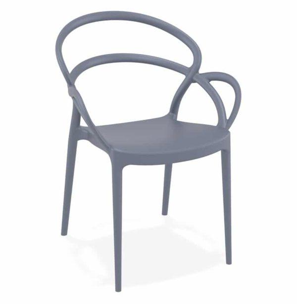 Chaise de terrasse ´JULIETTE´ design grise foncée