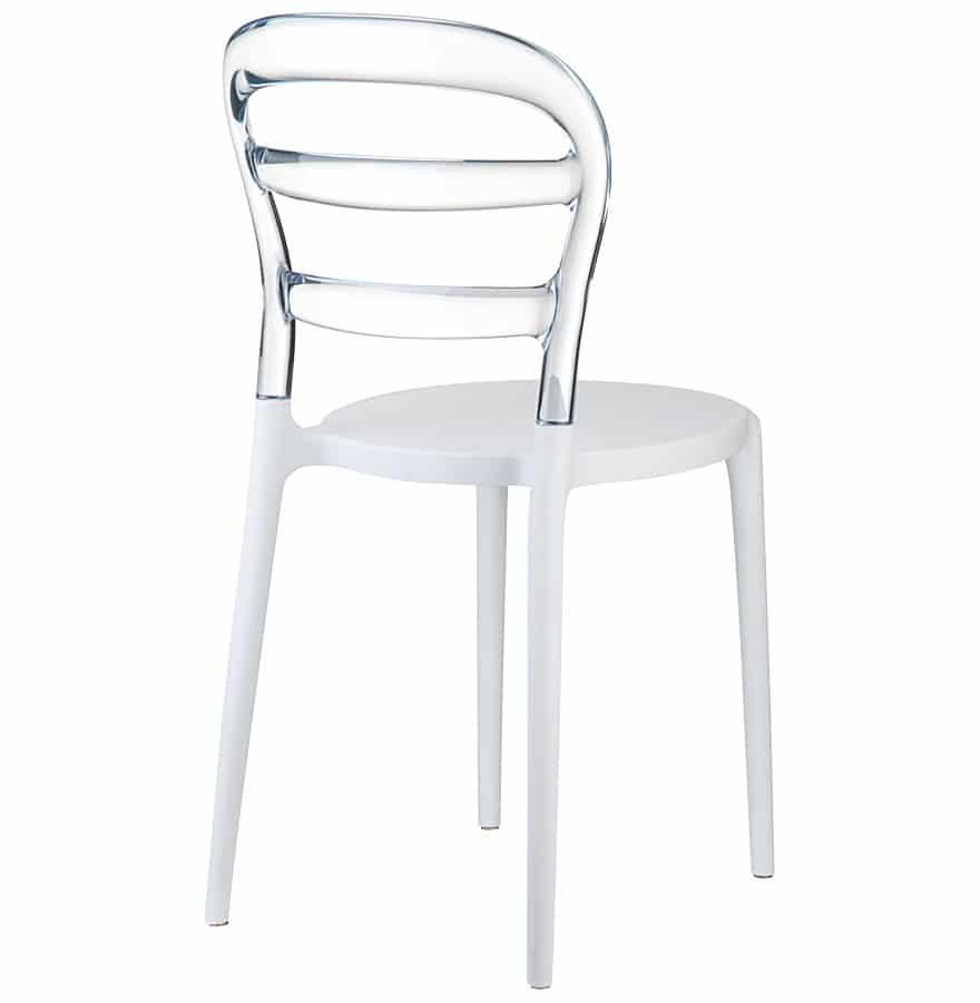 Chaise design ´BARO´ blanche et transparente en matière plastique Addesign