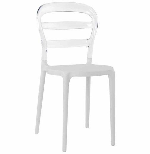 Chaise design ´BARO´ blanche et transparente en matière plastique