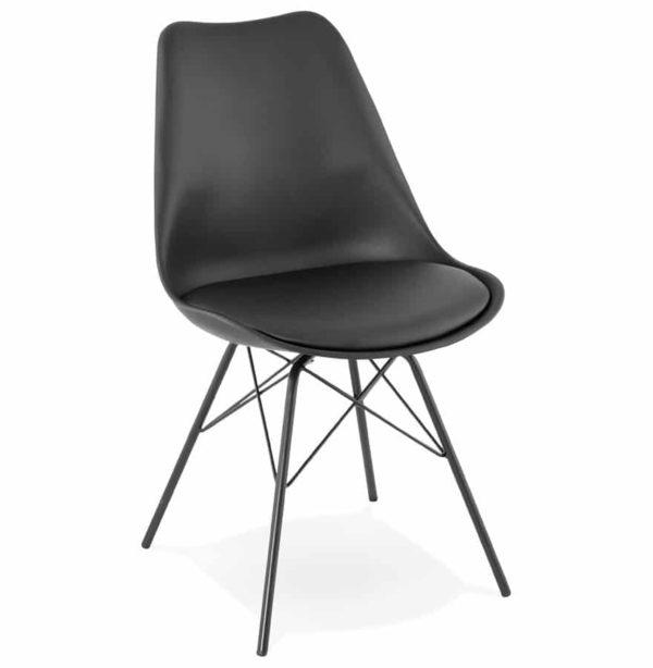 Chaise design ´BYBLOS´ noire style industriel