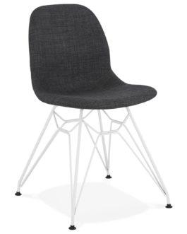 Chaise design ´DECLIK´ grise foncée avec pieds en métal blanc