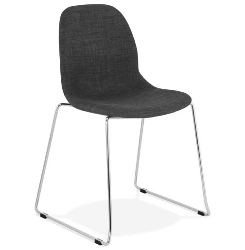 Chaise design ´DISTRIKT´ en tissu gris foncé avec pieds en métal chromé
