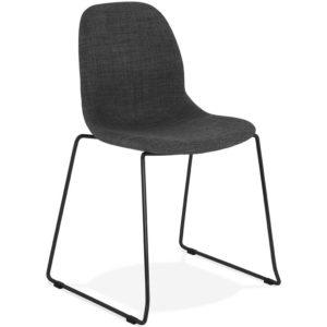 Chaise design ´DISTRIKT´ en tissu gris foncé avec pieds en métal noir