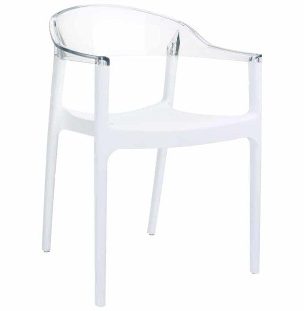 Chaise design ´EMA´ blanche et transparente
