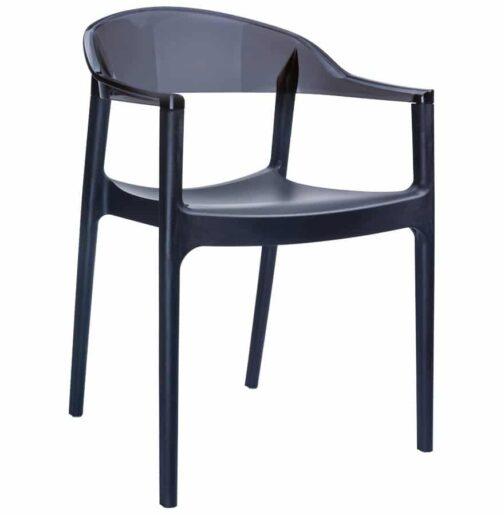 Chaise design ´EMA´ noir en matière plastique