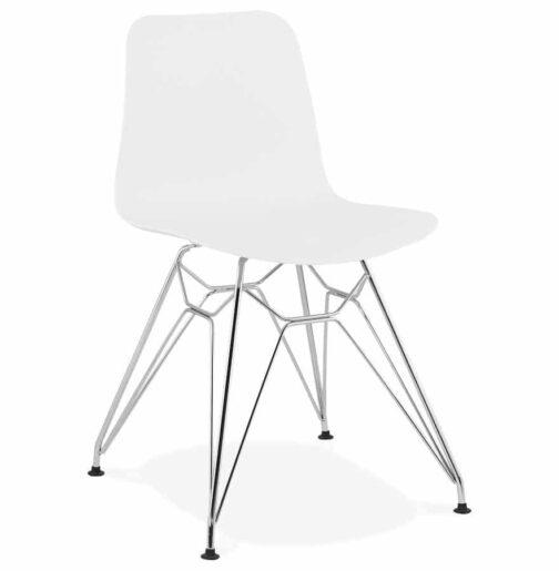 Chaise design ´GAUDY´ blanche avec pied en métal chromé