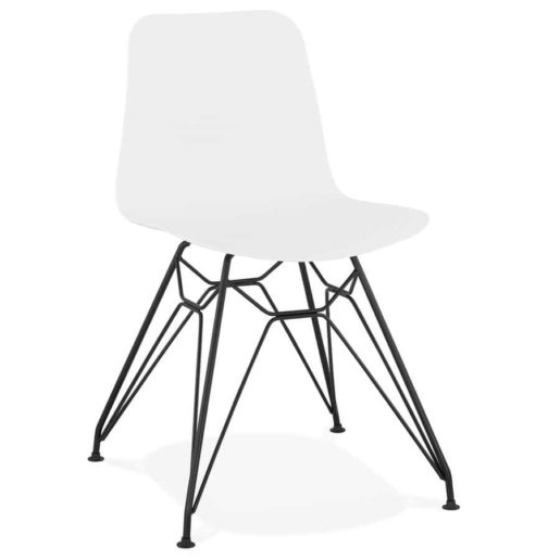 Chaise design ´GAUDY´ blanche style industriel avec pied en métal noir