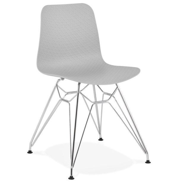 Chaise Design GAUDY Grise Avec Pied En Mtal Chrom