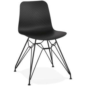 Chaise design ´GAUDY´ noire style industriel avec pied en métal noir