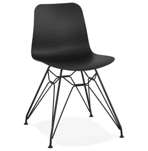 chaise design gaudy noire style industriel avec pied en m tal noir addesign. Black Bedroom Furniture Sets. Home Design Ideas