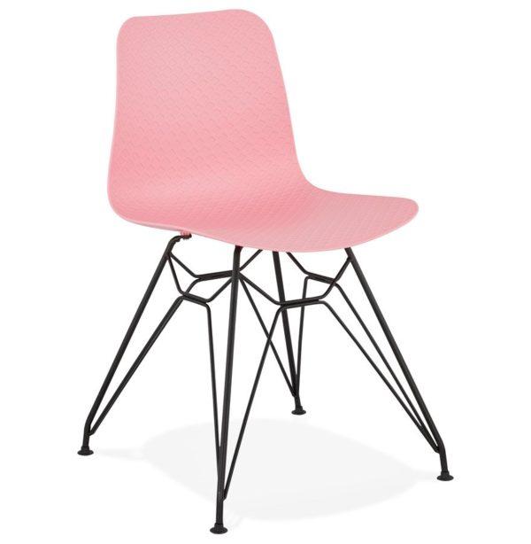 Chaise design ´GAUDY´ rose style industriel avec pied en métal noir