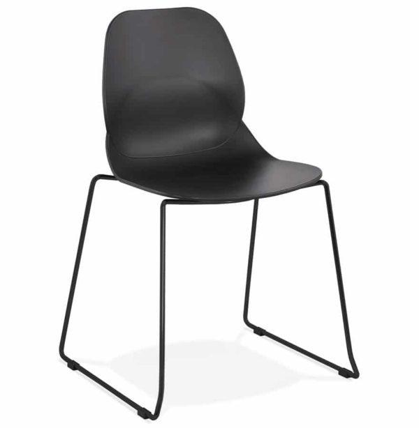 Chaise design ´NUMERIK´ noire avec pieds en métal noir 600x614 - Découvrez 10 chaises design, modernes et pas chères