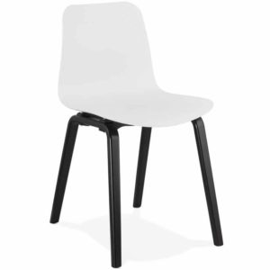 Chaise design ´PACIFIK´ blanche avec pieds en bois noir 300x300 - Décoration pas chère et moderne