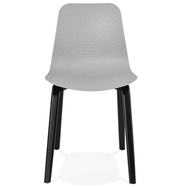 Chaise-design-´PACIFIK´-grise-avec-pieds-en-bois-noir-1