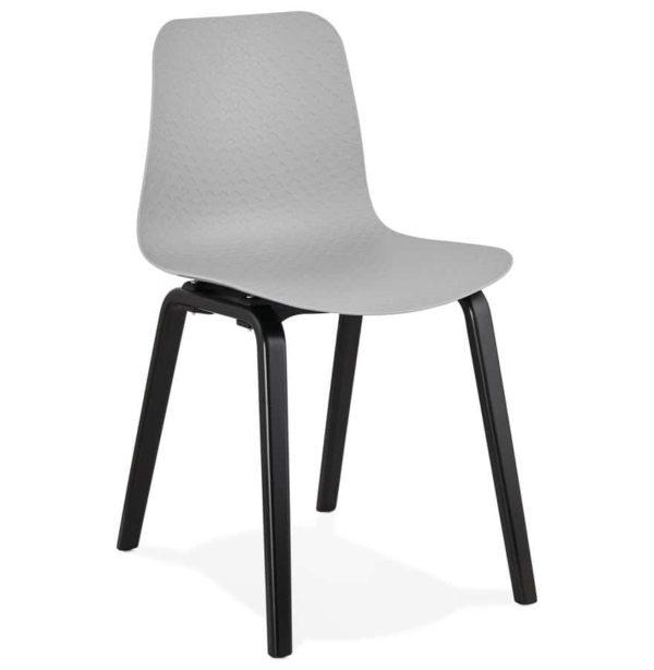 Chaise design ´PACIFIK´ grise avec pieds en bois noir