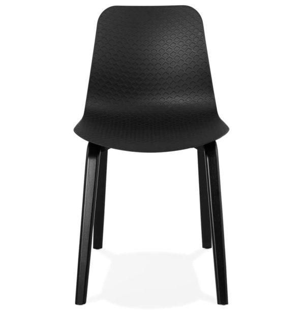 Chaise-design-´PACIFIK´-noire-avec-pieds-en-bois-noir-1