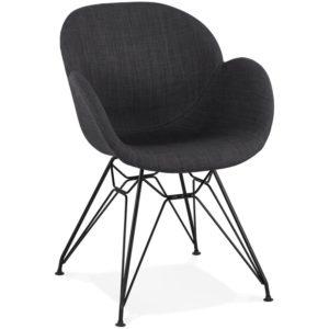 Chaise design ´PLANET´ en tissu gris foncé avec pieds en métal noir