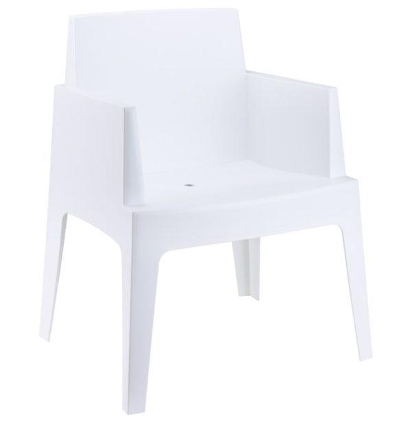 Chaise design ´PLEMO´ blanche en matière plastique