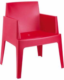 Chaise design ´PLEMO´ rouge en matière plastique