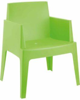 Chaise design ´PLEMO´ verte en matière plastique