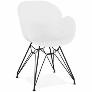 Chaise design ´SATELIT´ blanche style industriel avec pieds en métal noir
