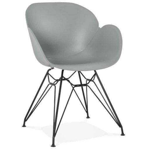 Chaise design ´SATELIT´ grise style industriel avec pieds en métal noir
