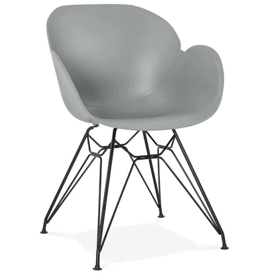 chaise design satelit grise style industriel avec pieds. Black Bedroom Furniture Sets. Home Design Ideas