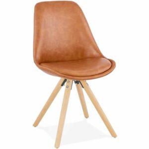 Chaise design ´STREET´ en matière synthétique brune