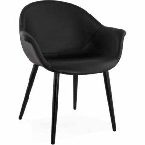 Chaise design avec accoudoirs ´MAJESTY´ en matière synthétique noire