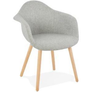 Chaise design avec accoudoirs ´RAMBLA´ en tissu gris