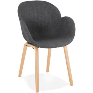 Chaise design avec accoudoirs ´SAMY´ en tissu gris style scandinave
