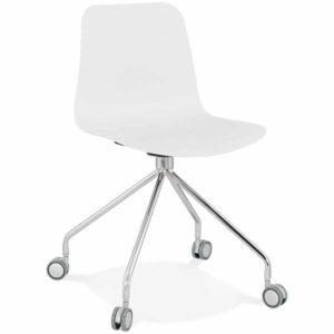 Chaise design de bureau ´SLIK´ blanche sur roulettes