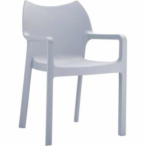 Chaise design de terrasse ´VIVA´ grise claire en matière plastique