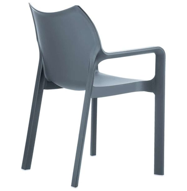 Chaise-design-de-terrasse-´VIVA´-grise-foncée-en-matière-plastique-1