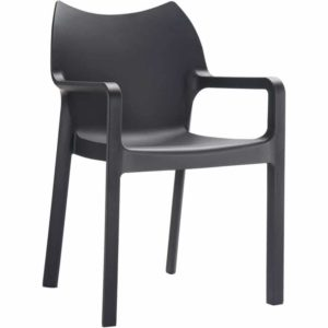 Chaise design de terrasse ´VIVA´ noire en matière plastique
