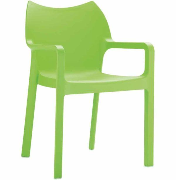 Chaise design de terrasse ´VIVA´ verte en matière plastique