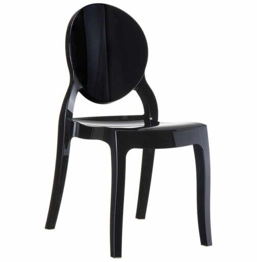 Chaise médaillon ´ELIZA´ noire en matière plastique